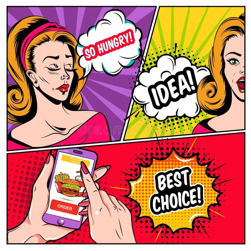 Modello online comico di acquisto royalty illustrazione gratis