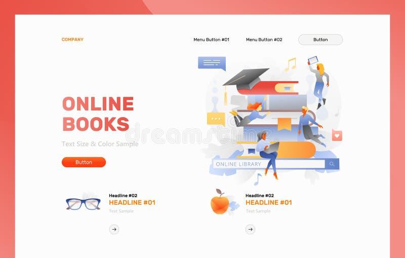 Modello online dell'intestazione di web dei libri royalty illustrazione gratis
