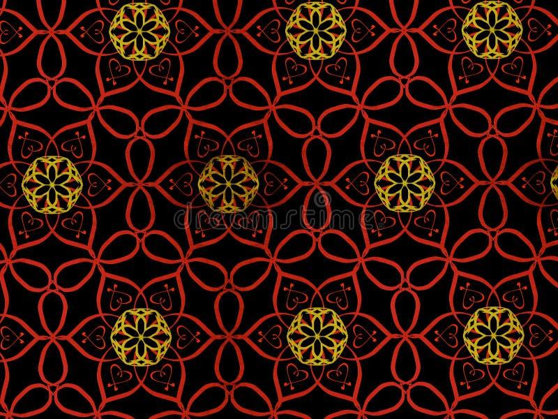Modello orientale rosso e colore dell'oro, illustrazione Mandala del fiore Elementi decorativi dell'annata Ornamento isolato sul  illustrazione vettoriale