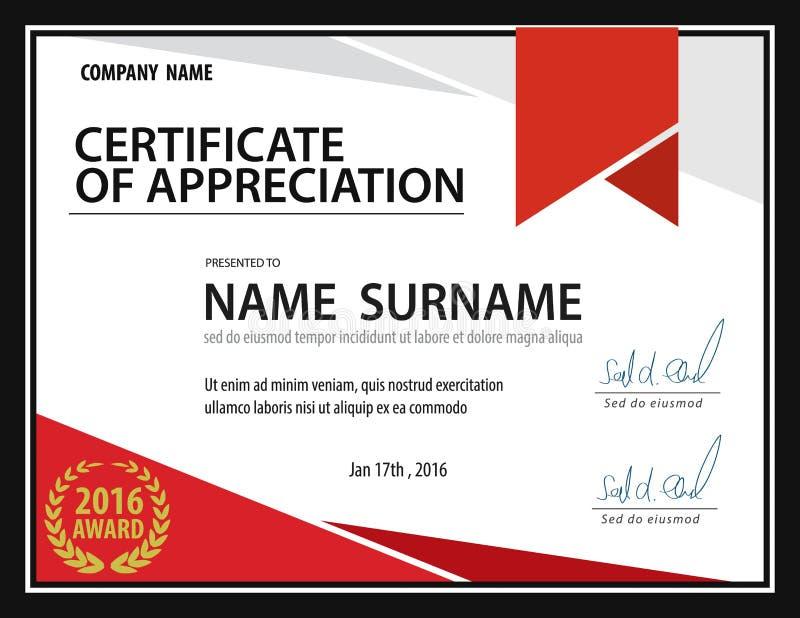 Modello orizzontale del certificato, diploma, dimensione della lettera, vettore immagini stock