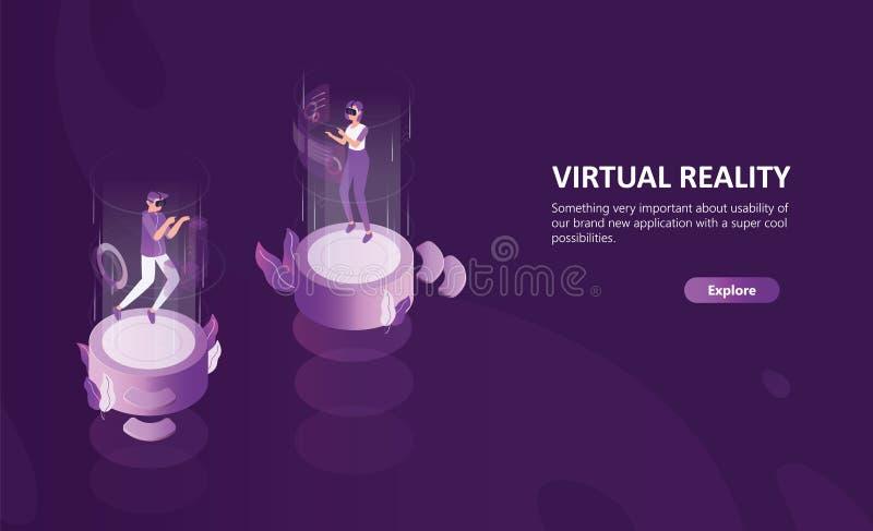 Modello orizzontale dell'insegna di web con i vetri d'uso di realtà virtuale della donna e dell'uomo Personaggi dei cartoni anima illustrazione vettoriale