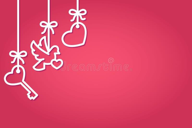 Modello orizzontale di Valentine Day con la linea simboli di cuore, di chiave e di colomba appendenti sui nastri con l'arco illustrazione vettoriale