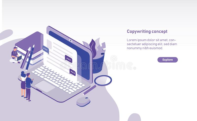 Modello orizzontale moderno dell'insegna di web con la gente minuscola che sta davanti al computer portatile gigante e che esamin illustrazione di stock