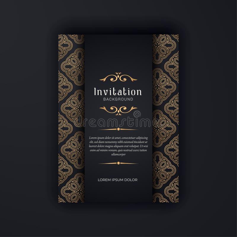 Modello ornamentale dell'invito di nozze dell'oro, ornamenti dell'invito della cartolina d'auguri fotografie stock libere da diritti