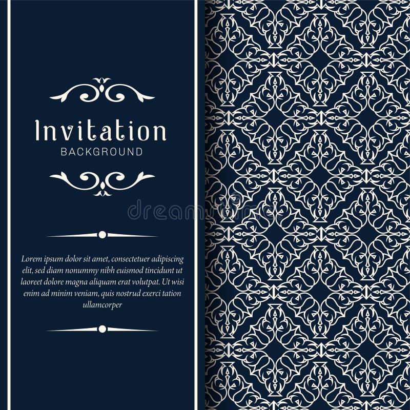 Modello ornamentale dell'invito di nozze dell'oro, ornamenti dell'invito della cartolina d'auguri immagini stock libere da diritti