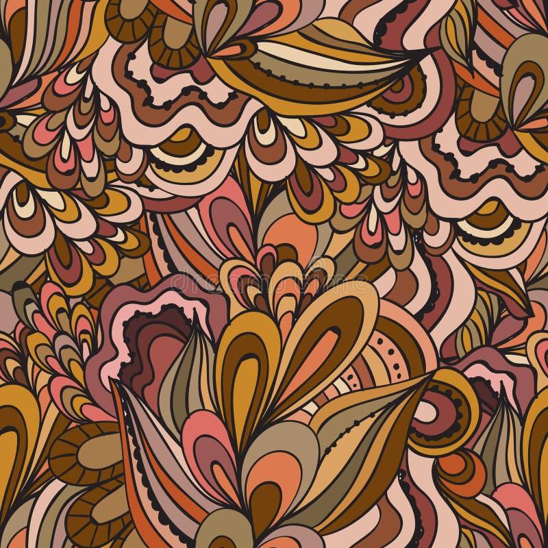 Modello ornamentale di vettore del ricciolo della natura disegnata a mano senza cuciture decorativa variopinta di scarabocchio royalty illustrazione gratis