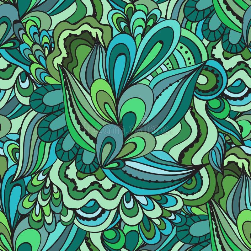 Modello ornamentale di vettore del ricciolo della natura disegnata a mano senza cuciture decorativa variopinta di scarabocchio illustrazione vettoriale