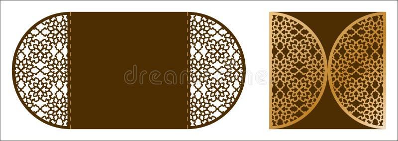 Modello ornamentale di vettore del taglio del laser Cartolina d'auguri di lusso, enve royalty illustrazione gratis
