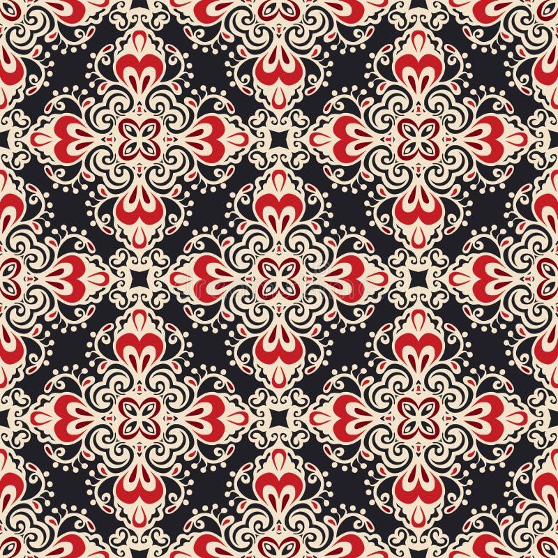 Modello ornamentale senza cuciture di vettore di motivo del damasco royalty illustrazione gratis