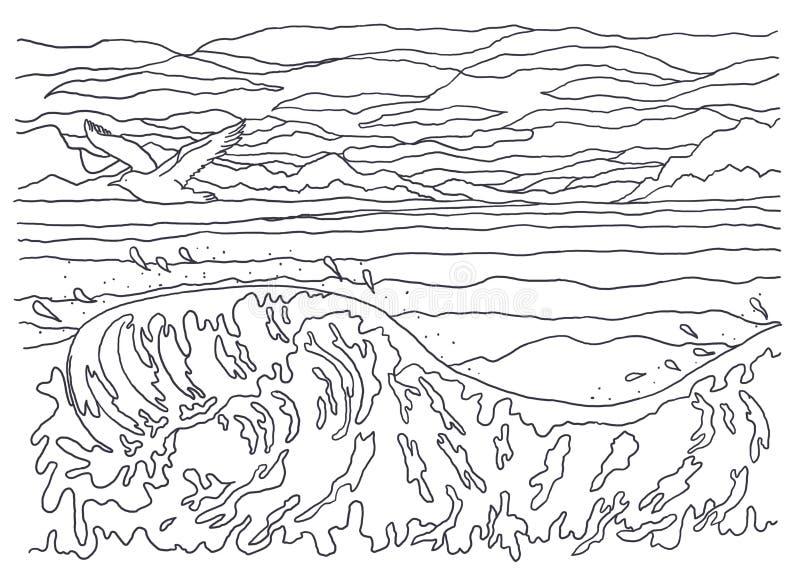 Modello per colorare Pittura del paesaggio Mare, onde, uccello, gabbiano, cielo, nuvole, vento, fresco, movimento, volo, spruzzat fotografie stock