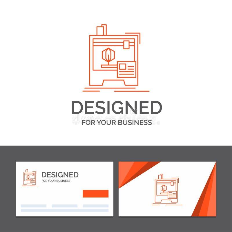 Modello per 3d, dimensionale, macchina, stampante, stampa di logo di affari Biglietti da visita arancio con il modello di logo di illustrazione vettoriale