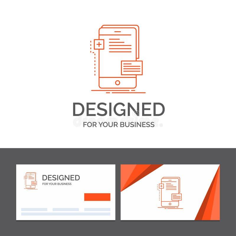 Modello per a fine frontale, interfaccia, cellulare, telefono, sviluppatore di logo di affari Biglietti da visita arancio con il  royalty illustrazione gratis