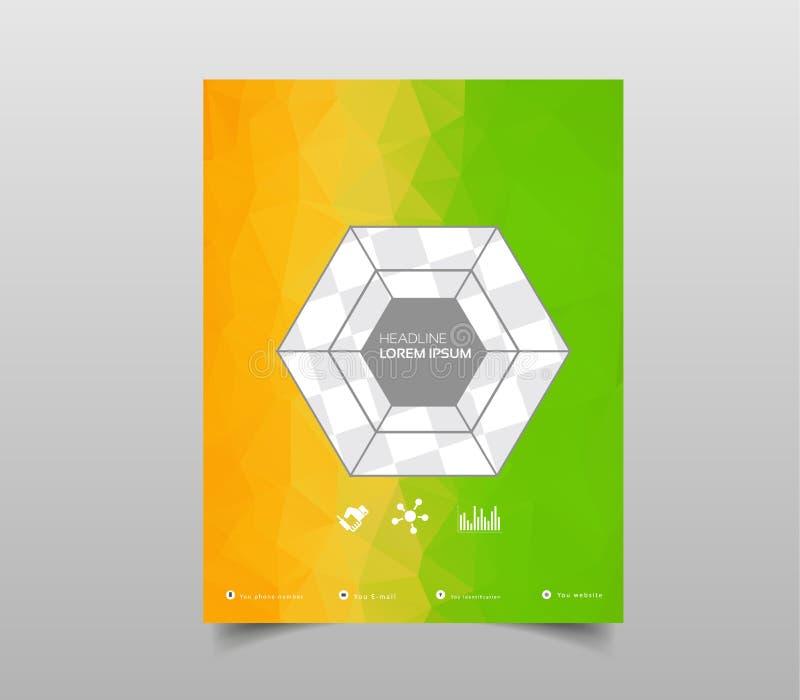 Modello per gli opuscoli, le alette di filatoio, i manifesti, le coperture o il web design Fondo moderno astratto con triangolare royalty illustrazione gratis
