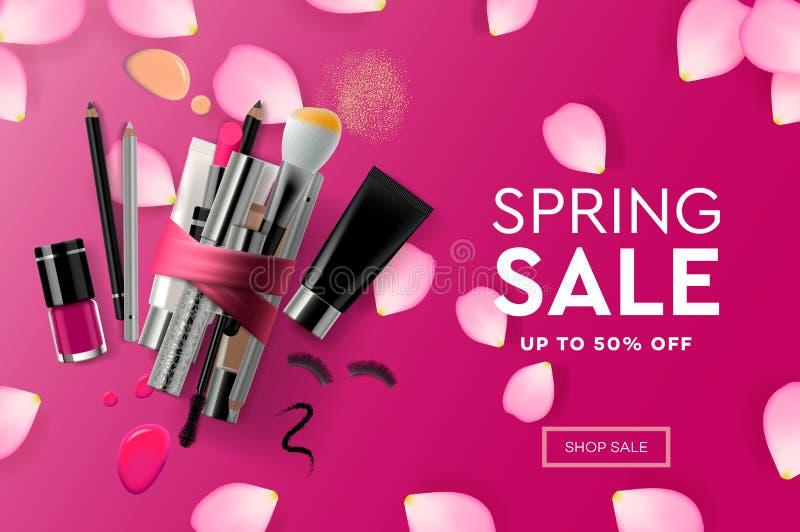 Modello per i cosmetici di vendita della primavera, corso di trucco, prodotti naturali, cura di progettazione della pagina Web de illustrazione vettoriale