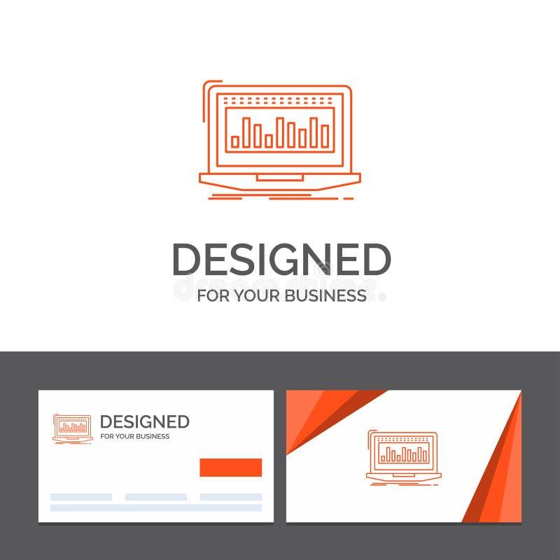 Modello per i dati, finanziario, indice, monitoraggio, azione di logo di affari Biglietti da visita arancio con il modello di log royalty illustrazione gratis
