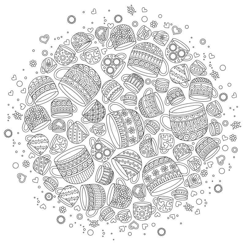 Modello per il libro da colorare con le tazze illustrazione di stock