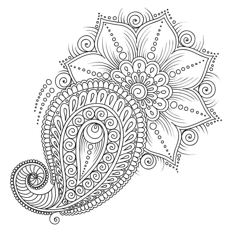 Modello per il libro da colorare Elementi floreali nello stile indiano royalty illustrazione gratis