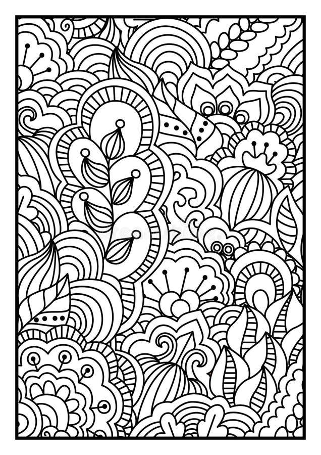 Modello per il libro da colorare Fondo in bianco e nero con gli elementi floreali, etnici, disegnati a mano per progettazione illustrazione di stock