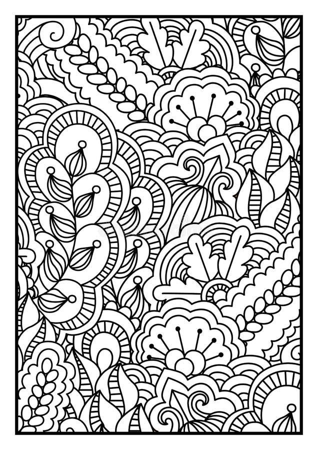 Modello per il libro da colorare Fondo in bianco e nero con gli elementi floreali, etnici, disegnati a mano per progettazione illustrazione vettoriale