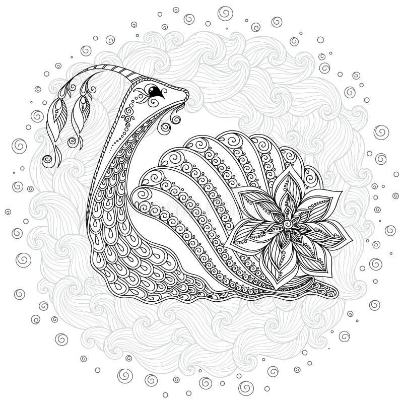 Modello per il libro da colorare Illustrazione di una lumaca illustrazione di stock