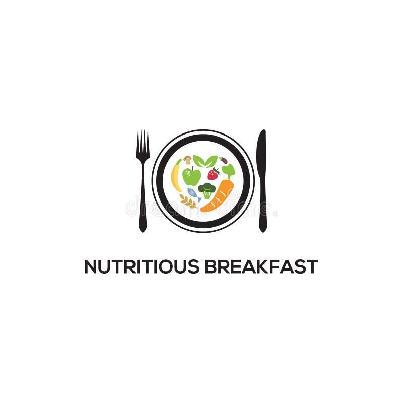 Modello per il logo Nutritious Breakfast, ispirazione per logo sani illustrazione vettoriale