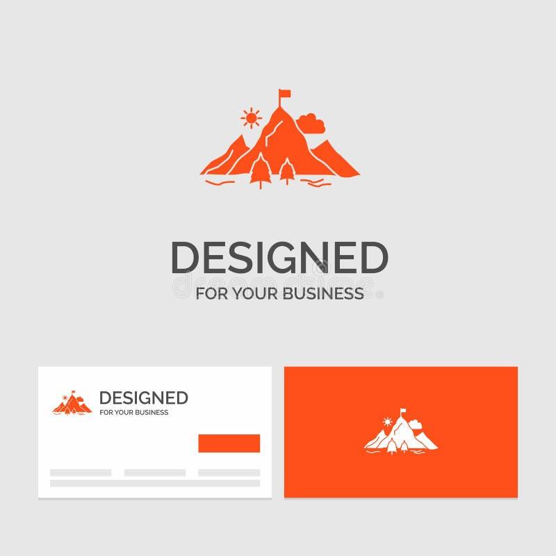 Modello per il risultato, bandiera, missione, montagna, successo di logo di affari Biglietti da visita arancio con il modello di  illustrazione di stock
