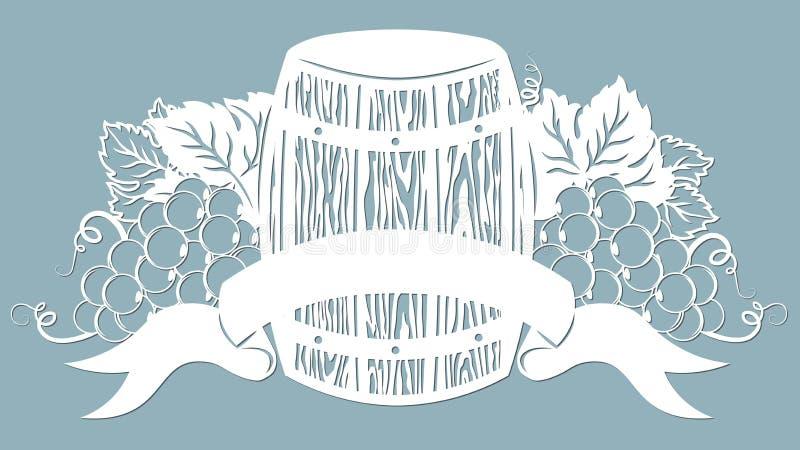 Modello per il taglio, il tracciatore e la serigrafia del laser vite uva Barilotto di vino illustrazione di stock