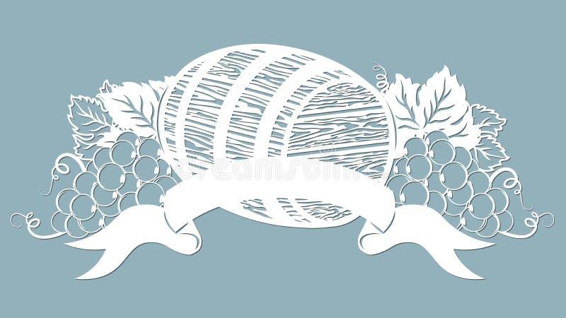Modello per il taglio, il tracciatore e la serigrafia del laser vite uva Barilotto di vino royalty illustrazione gratis