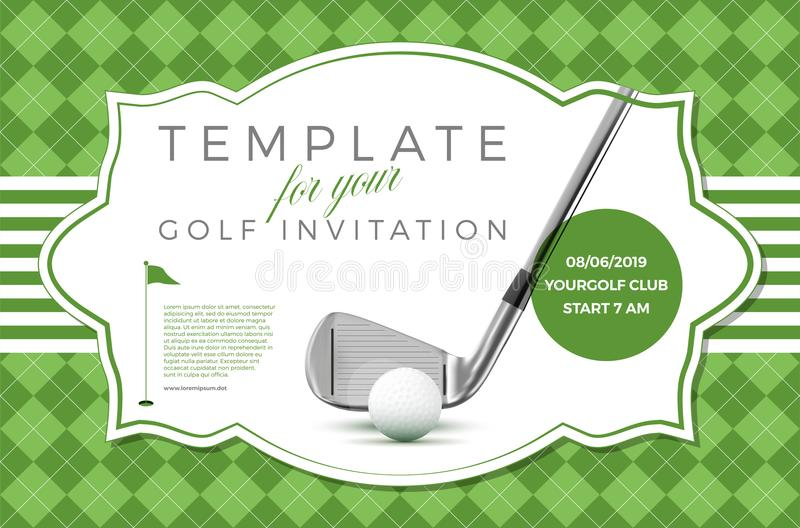 Modello per il vostro invito di golf con il testo del campione royalty illustrazione gratis