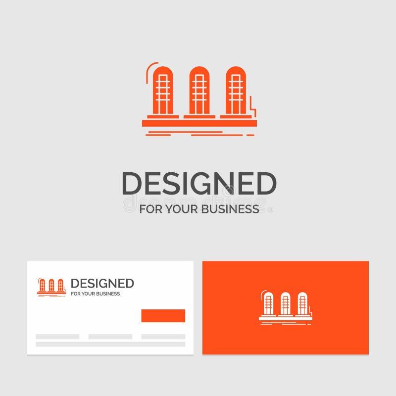 Modello per l'amplificatore, analogo, lampada, suono, tubo di logo di affari Biglietti da visita arancio con il modello di logo d illustrazione di stock