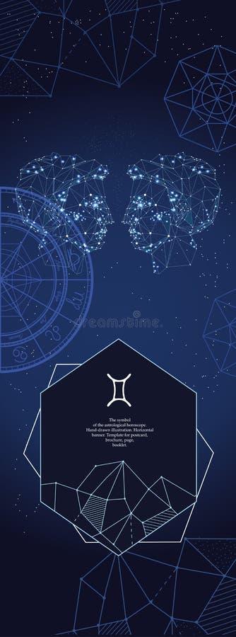 Modello per l'insegna astrologica Segno dello zodiaco dei Gemelli illustrazione di stock