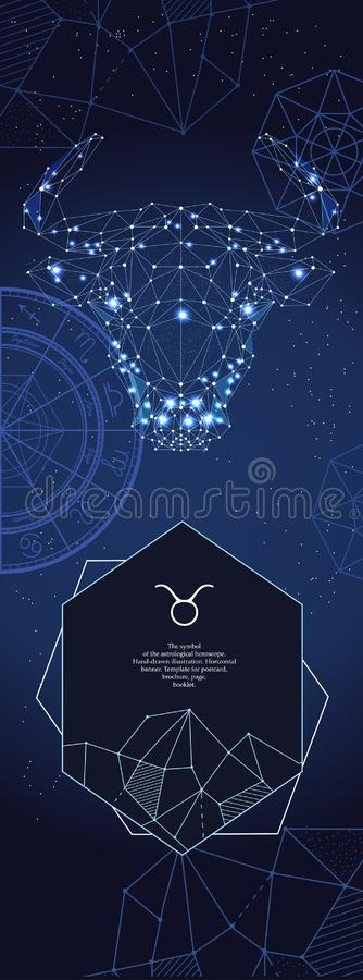 Modello per l'insegna astrologica Segno dello zodiaco del Taurus illustrazione vettoriale