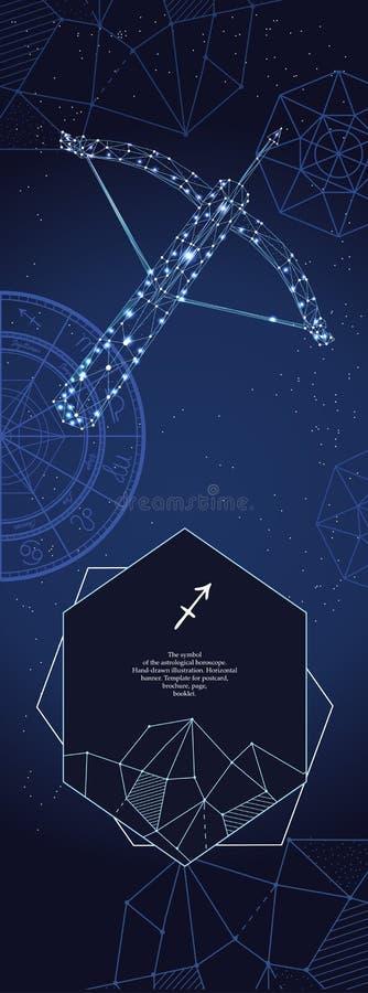 Modello per l'insegna astrologica Segno dello zodiaco di Sagittario illustrazione vettoriale