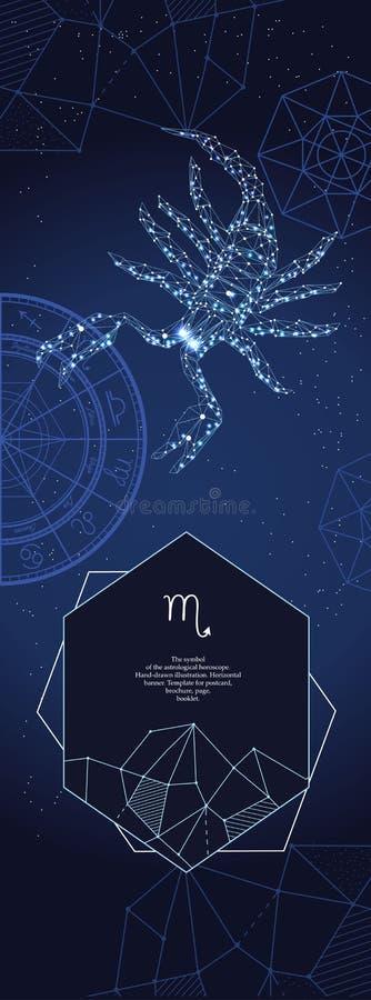 Modello per l'insegna astrologica Segno dello zodiaco di scorpione illustrazione di stock