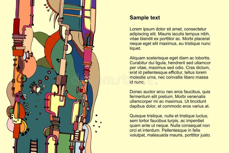 Modello per la carta con il modello astratto con i tubi e meccanismi di fantasia e posto per testo illustrazione vettoriale