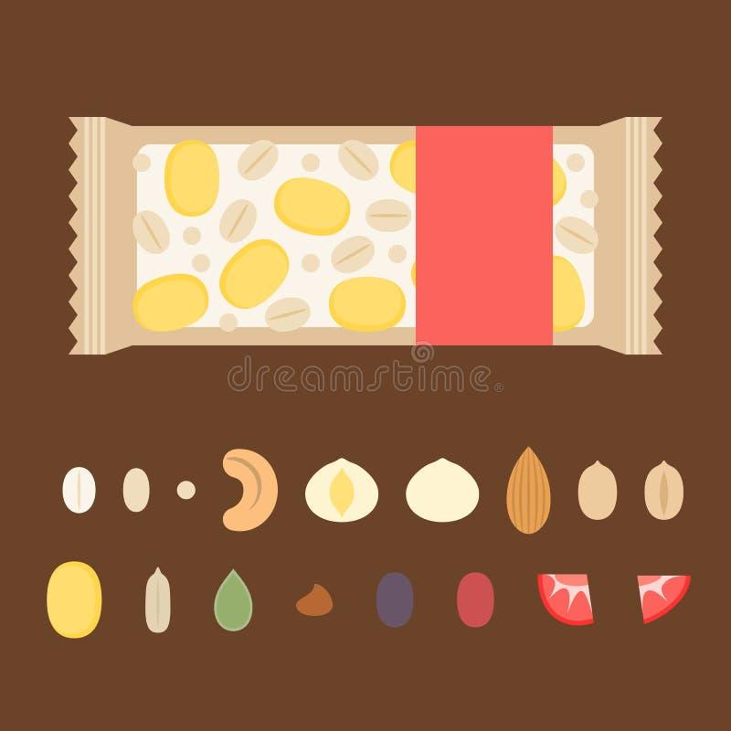 Modello per la fabbricazione dell'illustrazione della barra di granola con l'ingrediente quali i dadi illustrazione vettoriale