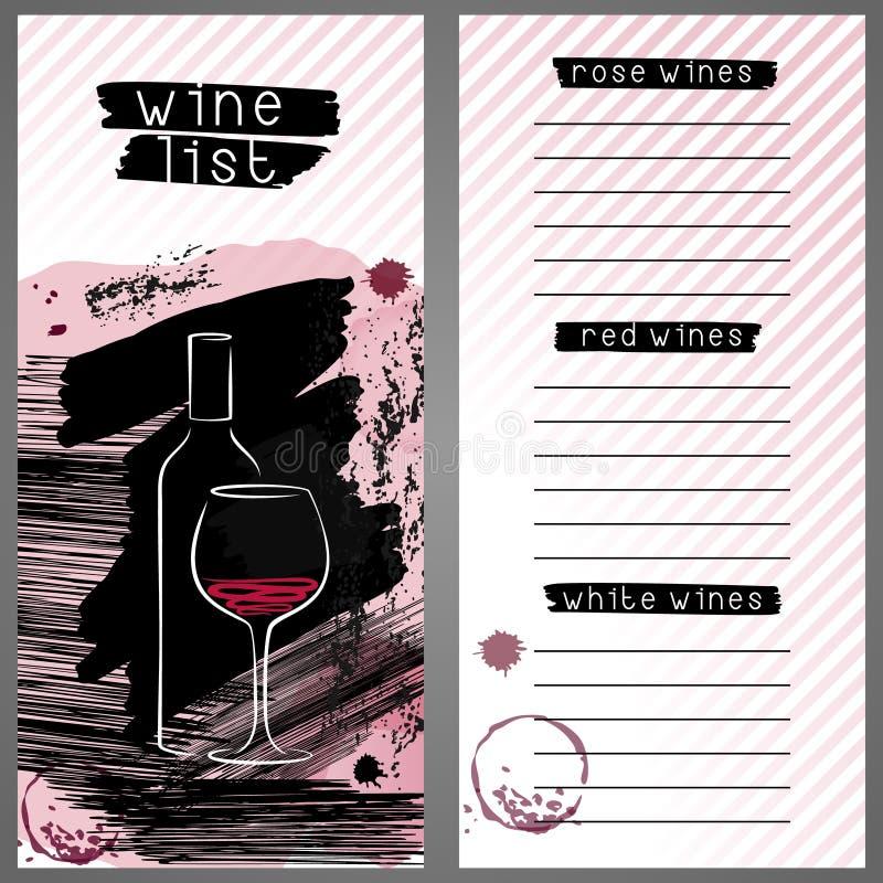 Modello per la lista di vino, la carta del menu della barra o l'assaggio di vino illustrazione di stock