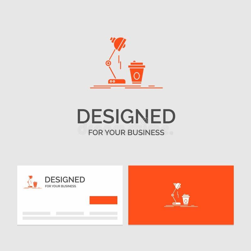 Modello per lo studio, progettazione, caff?, lampada, flash di logo di affari Biglietti da visita arancio con il modello di logo  illustrazione vettoriale
