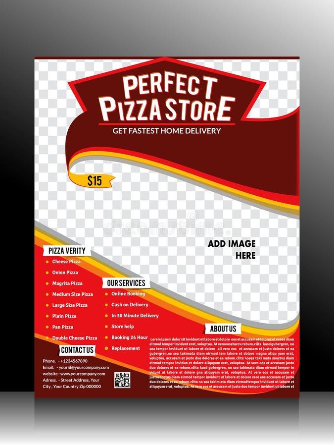 Modello perfetto dell'aletta di filatoio del deposito della pizza royalty illustrazione gratis