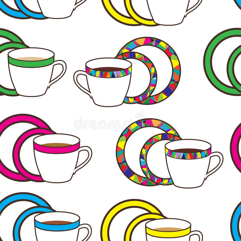 Modello piacevole con la tazza del mosaico e variopinta ed i piatti sulla parte posteriore di bianco royalty illustrazione gratis