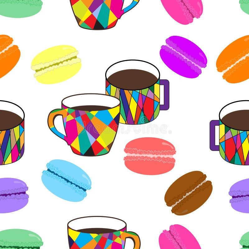 Modello piacevole con la tazza del mosaico ed i maccheroni colorati sulla parte posteriore di bianco illustrazione vettoriale