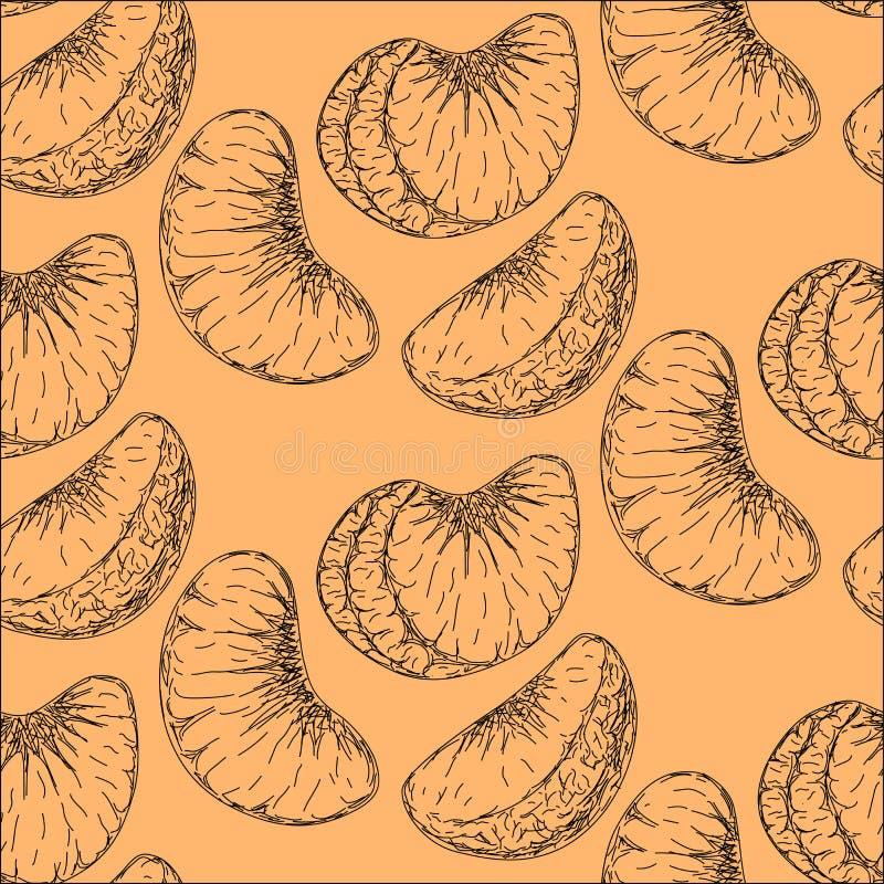 Modello piacevole con un'immagine di un mandarino illustrazione di stock