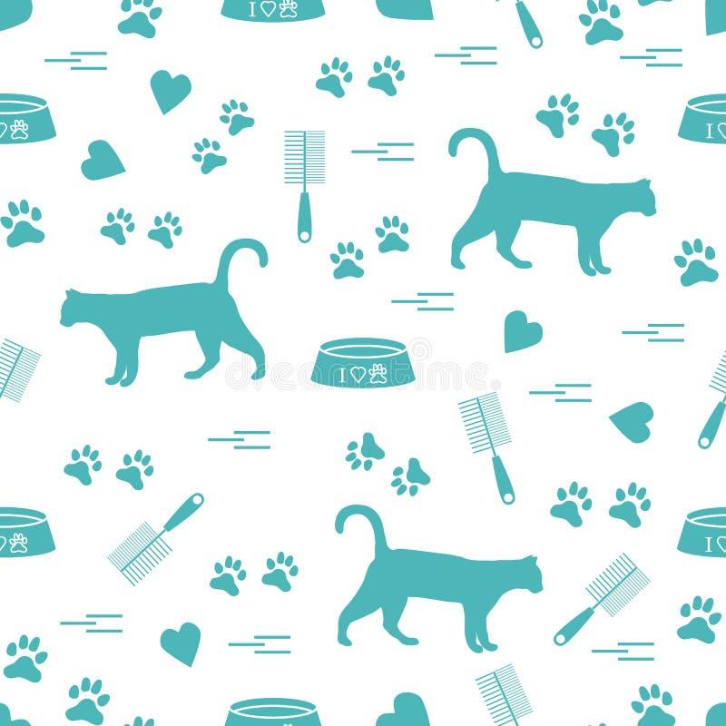 Modello piacevole del gatto di camminata della siluetta, tracce, cuori, ciotola e illustrazione vettoriale