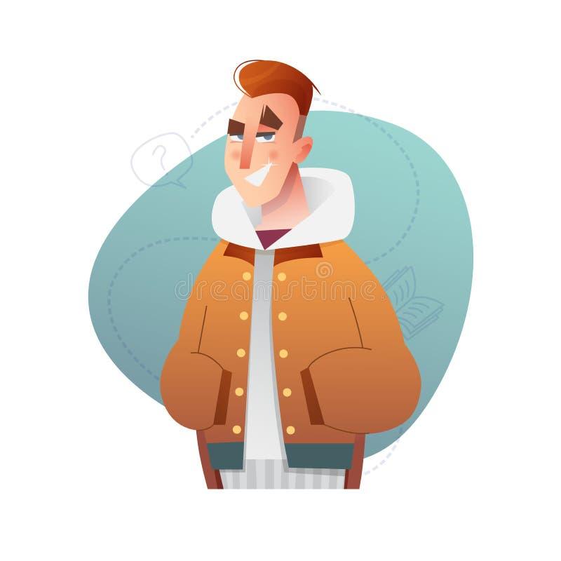 Modello piano bello dell'insieme di progettazione con il ragazzo di vettore in vestiti di inverno nello stile del fumetto illustrazione vettoriale