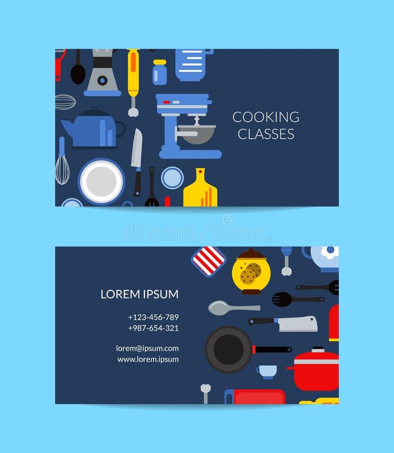 Modello piano del biglietto da visita degli utensili della cucina di stile di vettore royalty illustrazione gratis