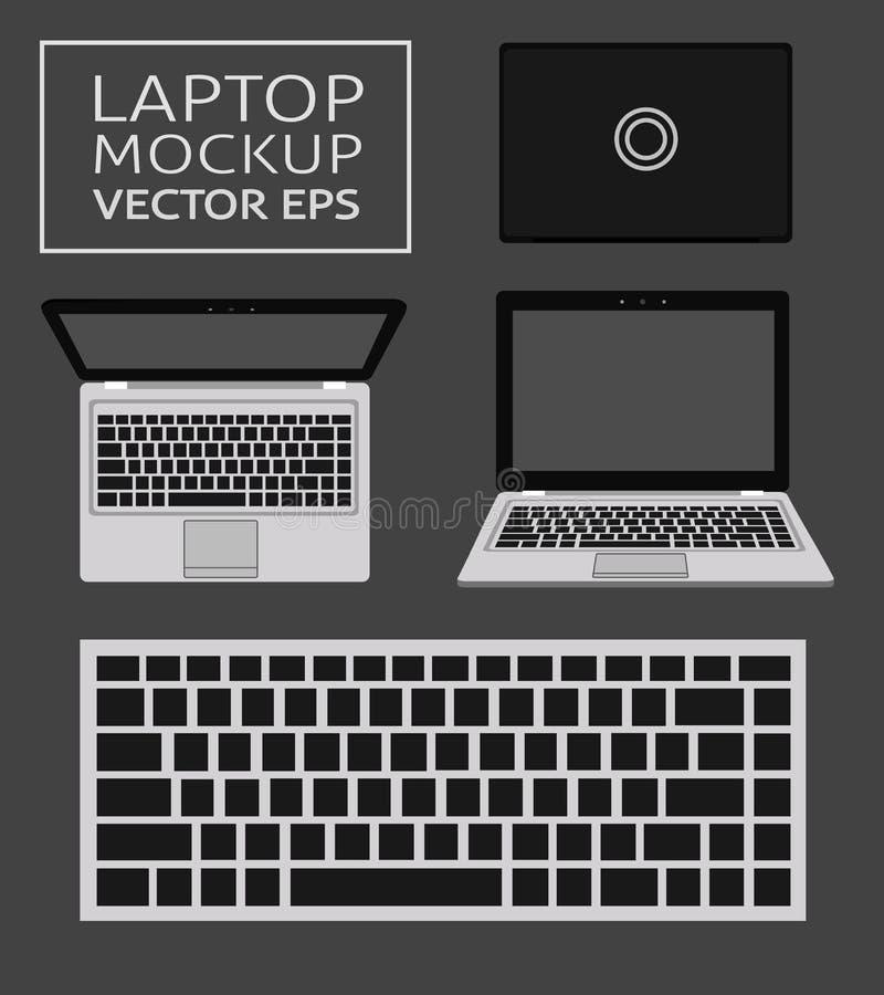 Modello piano del computer portatile nelle viste anteriori e superiori Progettazione piana minima per i siti Web, affare, vendita illustrazione vettoriale