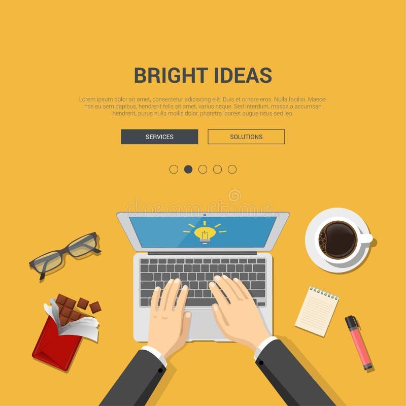 Modello piano del modello di progettazione per il topview luminoso del posto di lavoro di idee illustrazione di stock