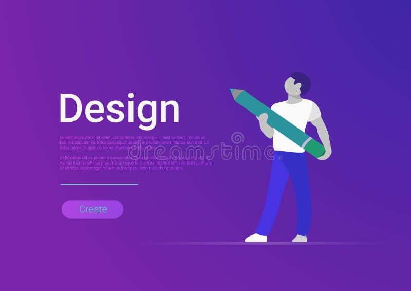 Modello piano dell'insegna di vettore di progettazione Artis del progettista illustrazione di stock