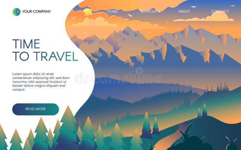 Modello piano della pagina di atterraggio di vettore dell'agenzia di viaggi illustrazione di stock