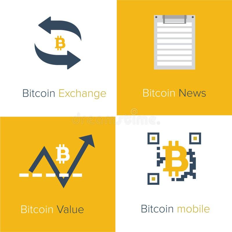 Modello piano delle icone di Bitcoin illustrazione vettoriale